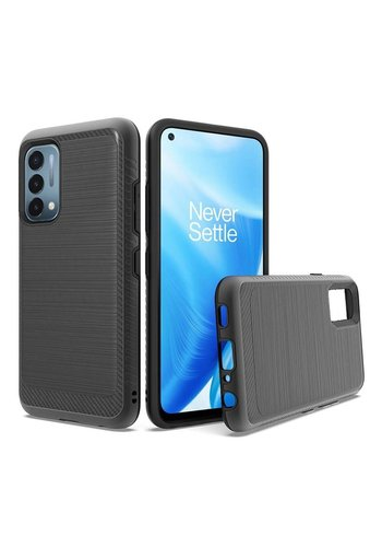 Metallic PC TPU Brushed Case with Carbon Fiber Edge for OnePlus Nord N200 5G