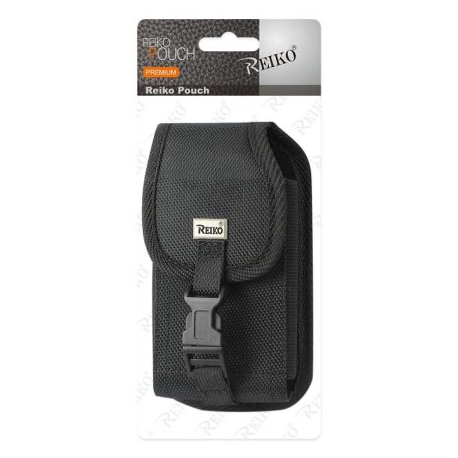 Reiko (inside:  6.1 x 3.2 x 0.7 in) Vertical Rugged Pouch With Buckle Clip in Black  (PH01B-613207 BK )