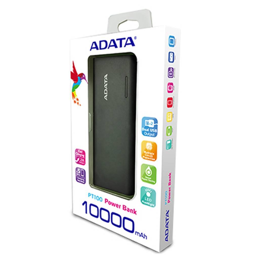 Adata Dual USB 10,000mAh Power Bank PT100 with Flashlight