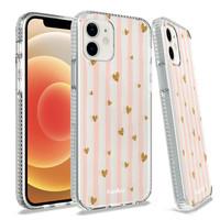 KASEAULT | Transparent ShockProof Hearts and Stripes Design Case for iPhone 13 Pro