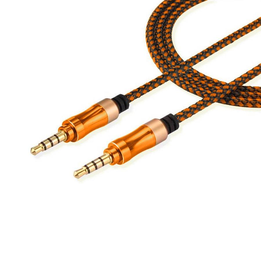 3.5mm Non Tangle Braided AUX Cable (1.5M / 5 Feet) with Metallic Design