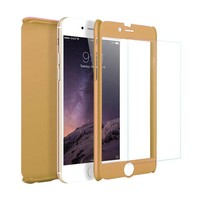 Fashion PC 360 Degree Protective Case with Tempered Glass For iPhone 7/8