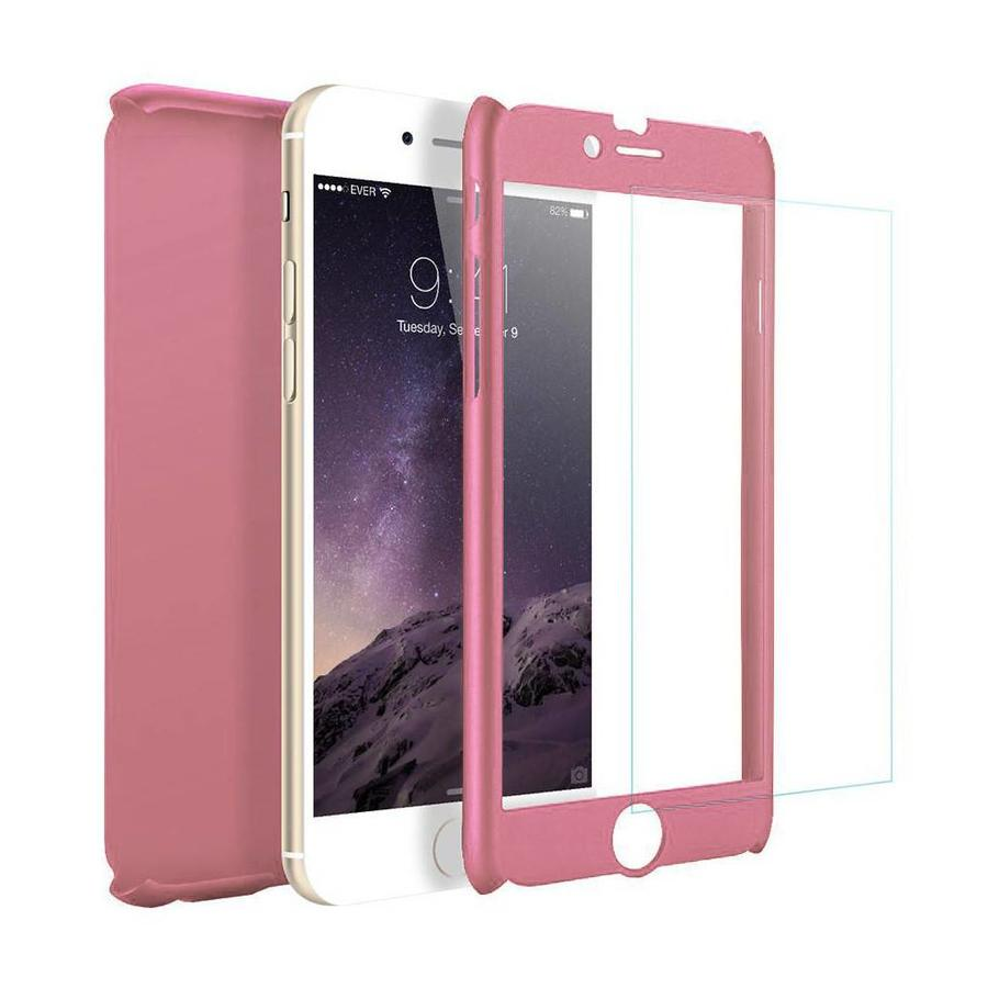 Fashion PC 360 Degree Protective Case with Tempered Glass For iPhone 7/8 Plus