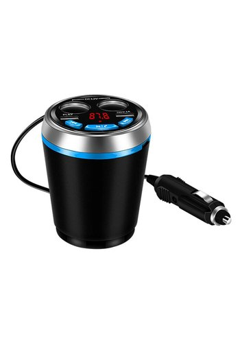 Dual Car Multi Functional Charger Cup with 2 USB Ports & DC12V / TF & Bluetooth