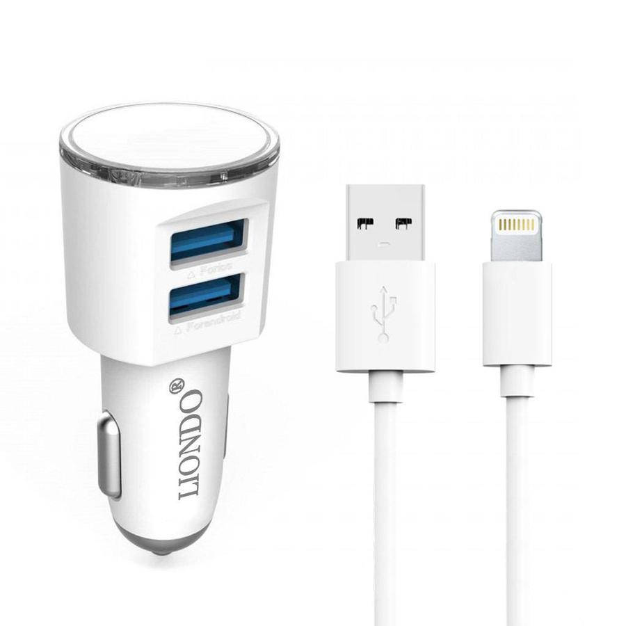 LIONDO | Dual-USB Car Charger with Lightning Cable Fast Charging 3.1A