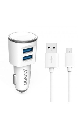 LIONDO | Dual-USB Car Charger with Micro USB Cable Fast Charging 3.1A