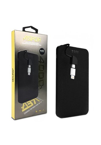 ASPOR | 4,000 mAh Slim Power Bank with Built-in Micro USB Cable and Lightning Adapter (A371)