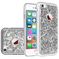 Frozen Glitter Case with Electroplated Chrome Bumper Edges for iPhone 5/5S/SE