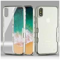 MYBAT Transparent Clear TUFF Metallic Edge Case For iPhone X / XS