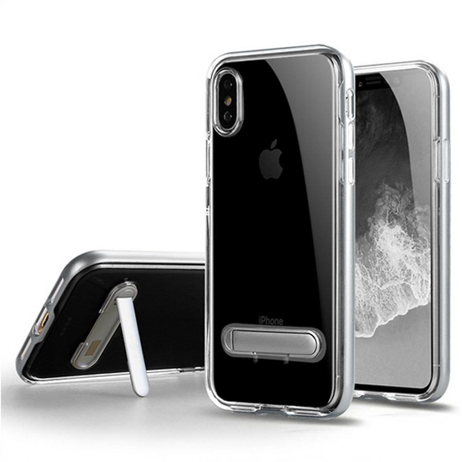 Guardian PC + TPU Clear Case with Solid Edge and Kickstand For iPhone X / XS - Stand Bumper