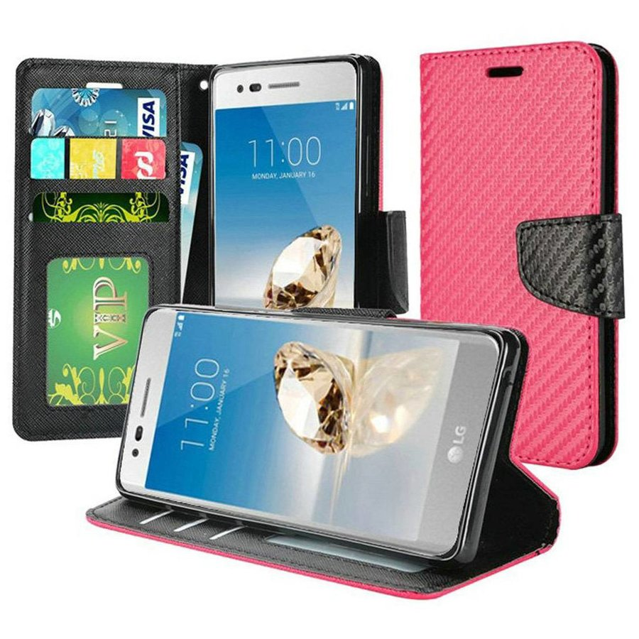 PU Leather Wallet Case with Carbon Fiber Texture for LG Aristo 2 & 3 / Tribute Dynasty / Empire