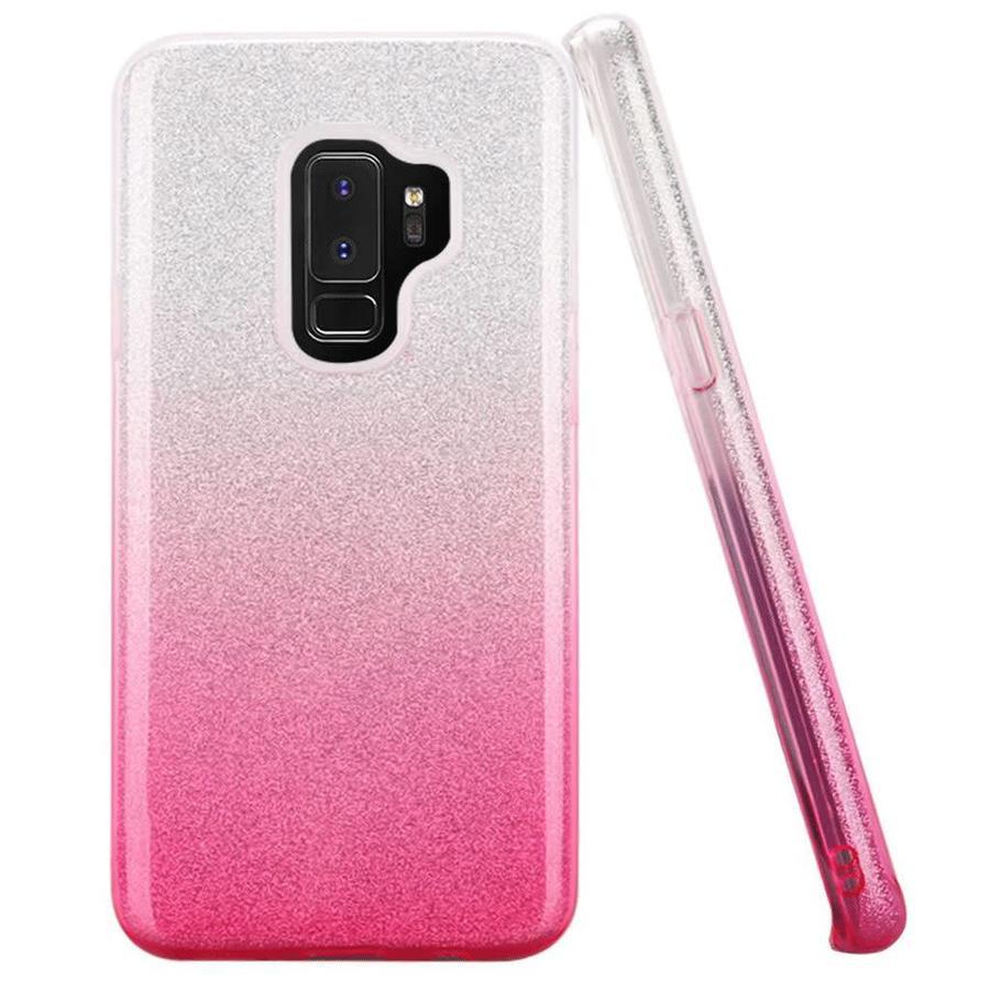 Gradient Two Tone Glitter Paper TPU Gel Case For Galaxy S9 Plus