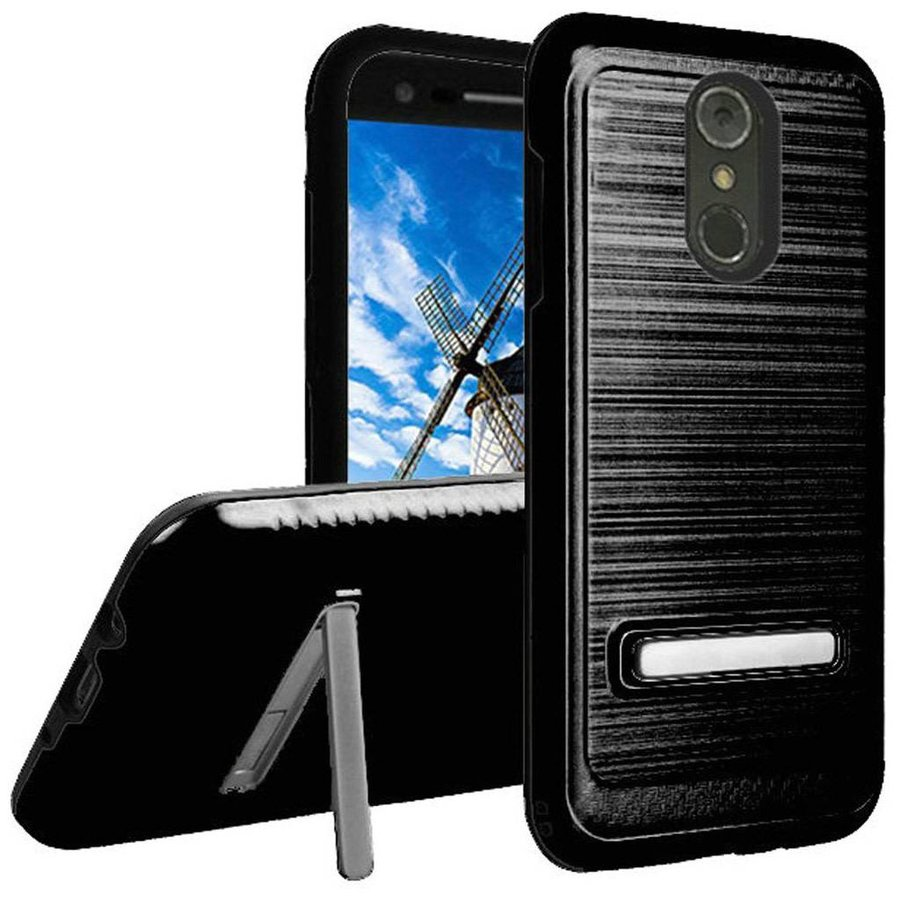 Metallic PC TPU Brushed Case Carbon Fiber Edge with Kickstand for LG Stylo 4