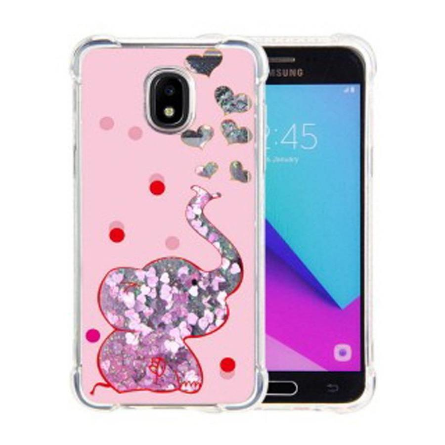 Guardian PC + TPU Liquid Quicksand with Baby Elephant Case for Galaxy J3 Achieve (2018)- Art Milkyway