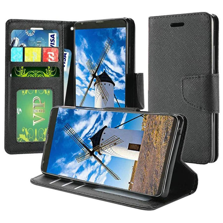 Hybrid PU Leather Flip Cover Case Wallet with Credit Card Slots for LG Stylo 4