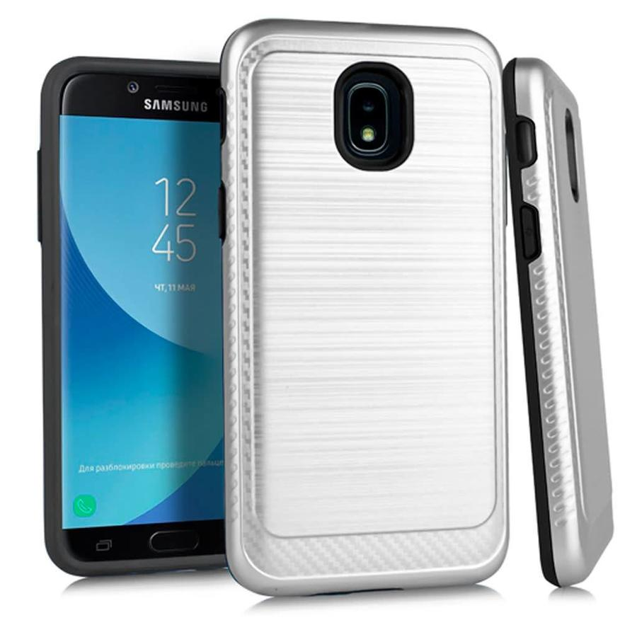 Metallic PC TPU Brushed Case with Carbon Fiber Edge for Galaxy J3 Achieve (2018)
