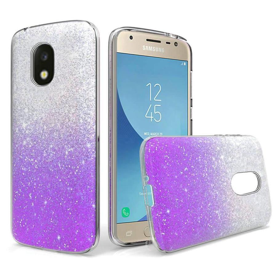 Gradient Two Tone Glitter Paper TPU Gel Case For Galaxy J3 Achieve (2018)