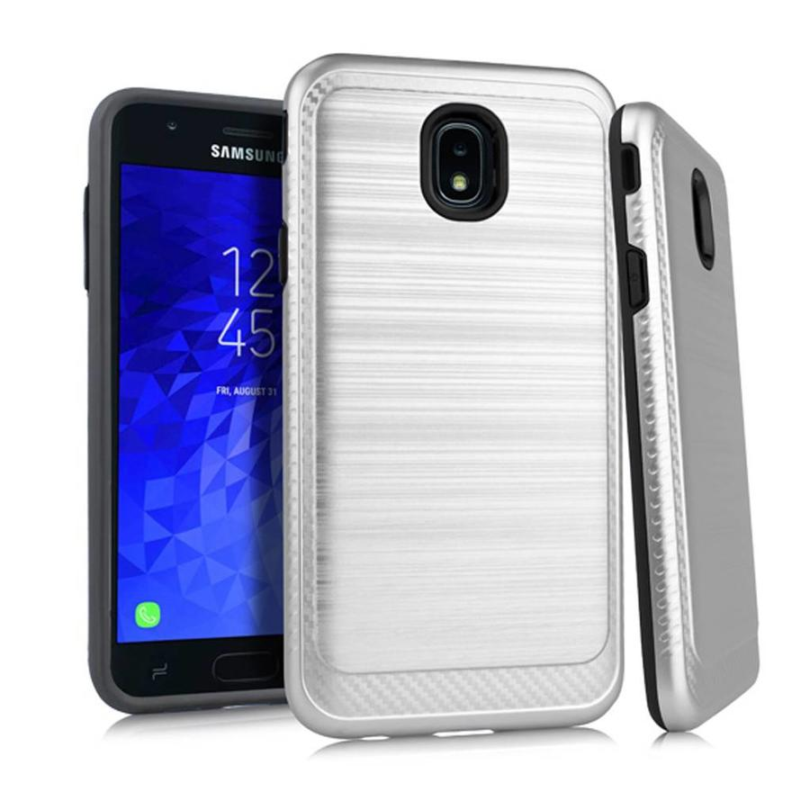 Metallic PC TPU Brushed Case with Carbon Fiber Edge for Galaxy J7 Refine / Star (2018)