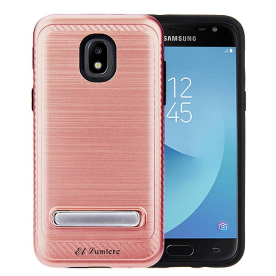 Guardian Metallic PC TPU Brushed Case Carbon Fiber Edge with Kickstand for Galaxy J3 Achieve (2018) - Shield Line Alpha Stand