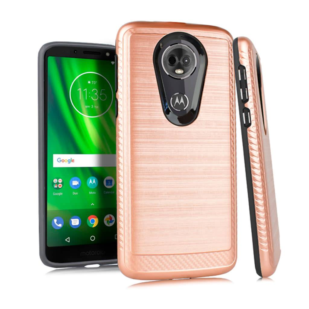 new product a9d71 8d2da Metallic PC TPU Brushed Case with Carbon Fiber Edge for Motorola Moto G6  Play