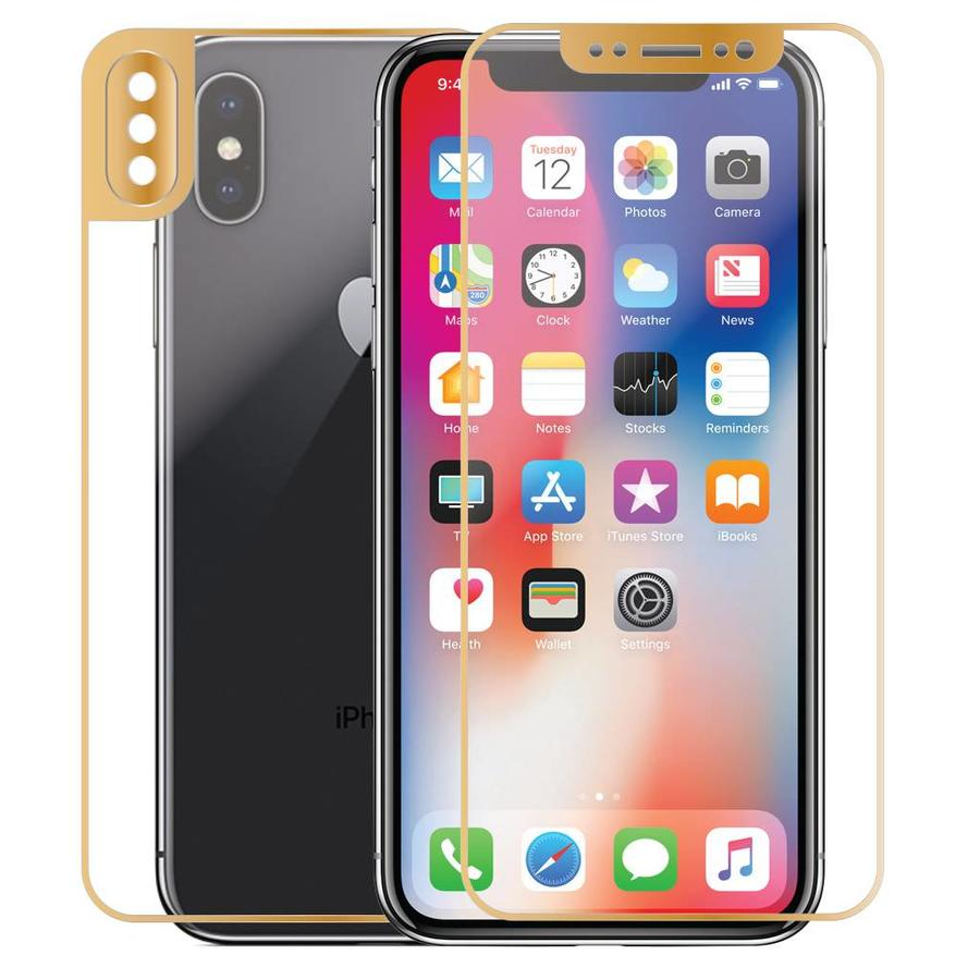 4D Front & Back Full Cover Metallic Design Tempered Glass for iPhone X