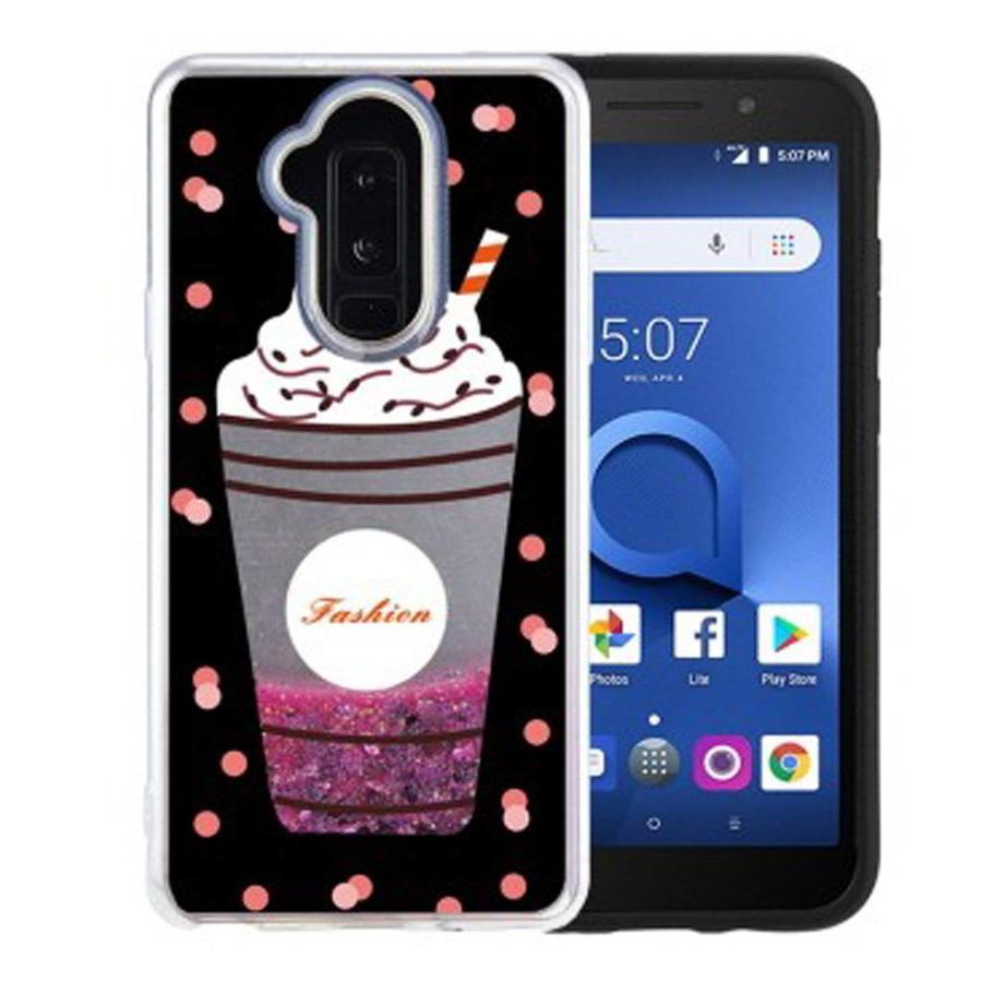 Guardian PC + TPU Liquid Quicksand with Fashion Milkshake Cup Case for Alcatel 7 / Revvl 2 Plus / 7 Folio - Art Milkyway