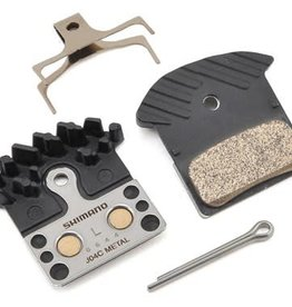Shimano Shimano J04C Metal Disc Brake Pads and Spring with Fin for XTR BR-M9020, XT BR-M8000, SLX BR-M675, Deore BR-M615, BR-R517 Calipers