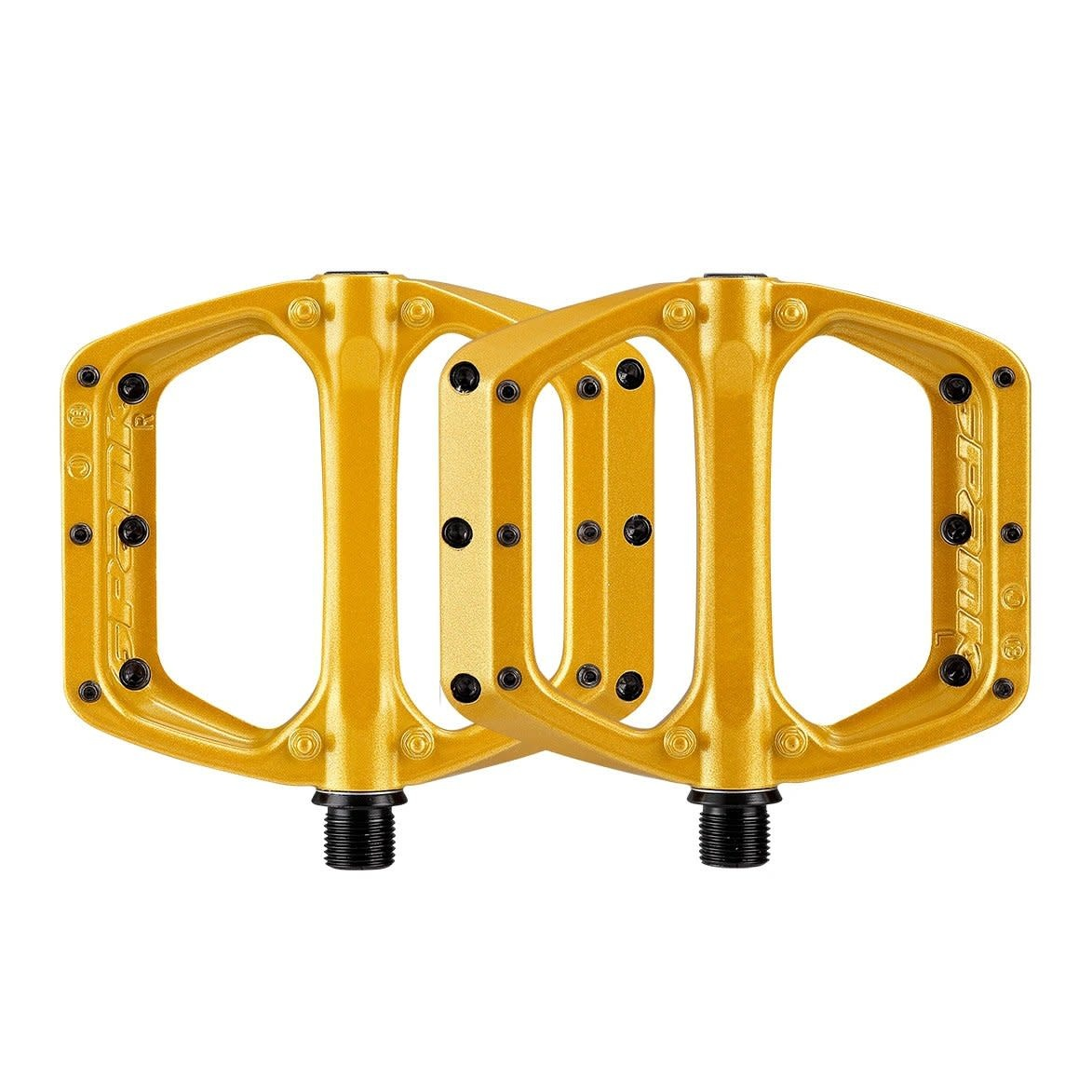 Spank Spank, SPOON DC, Platform Pedals, Body: Aluminum, Spindle: Cr-Mo, 9/16'', Gold, Pair