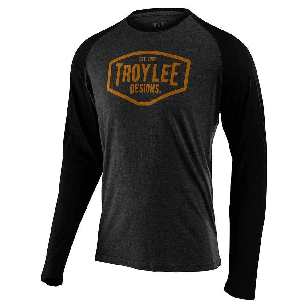 Troy Lee Designs MOTOR OIL L/S RAGLAN; CHARCOAL / BLACK SM