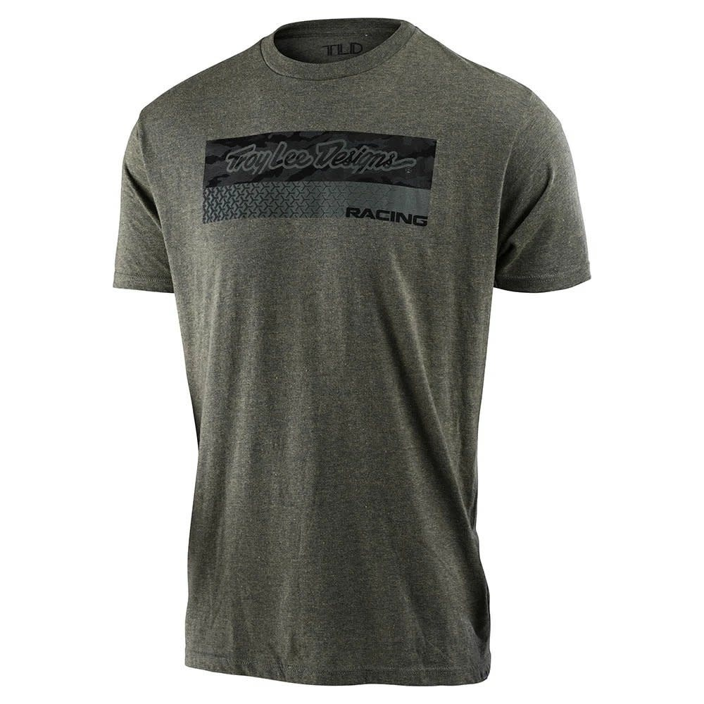 RACING BLOCK FADE TEE; SAGE BLACK HEATHER SM