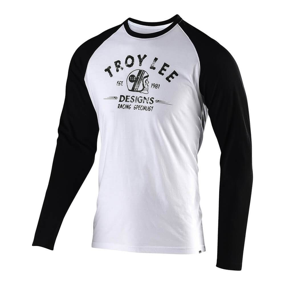 Troy Lee Designs RACING SPECIALIST L/S TEE; WHITE / BLACK 2X