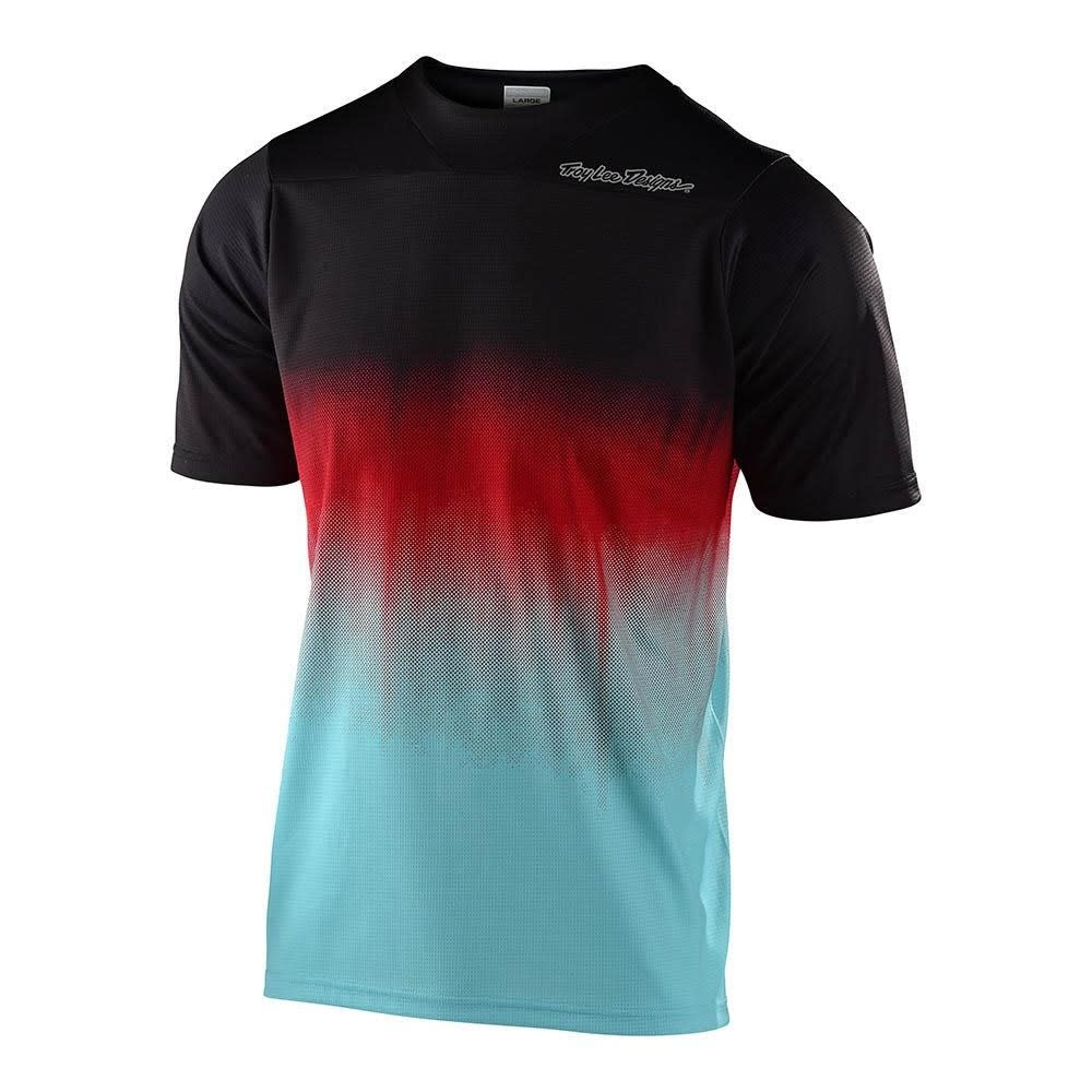 Troy Lee Designs SKYLINE SS JERSEY; STAIN'D BLACK / TURQUOISE XL