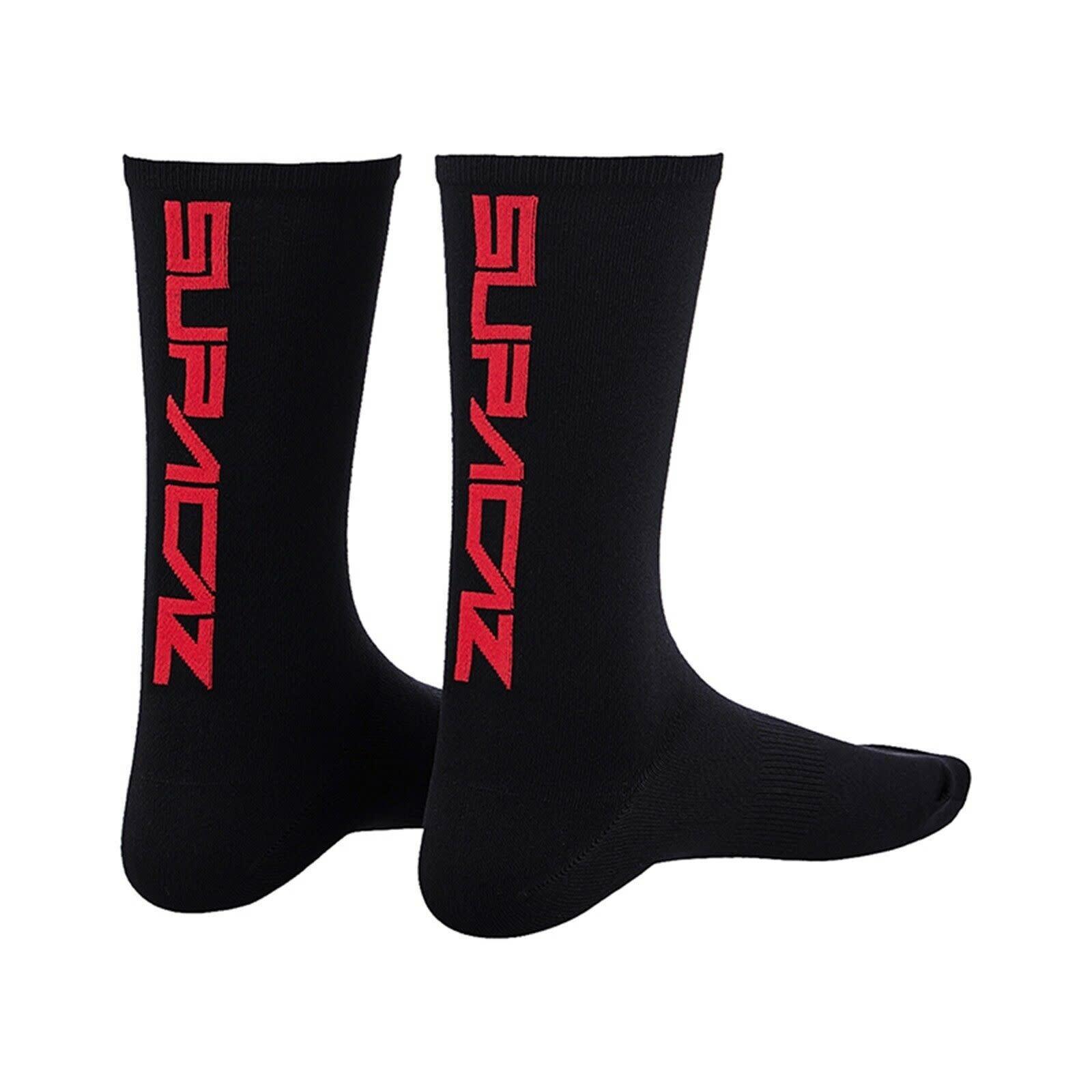Supacaz Supacaz, Straight Up, Socks, Black/Red, LXL, Pair