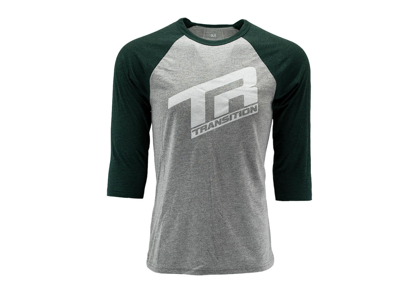 Transition TBC - 3/4 Sleeve Shirt: TR Logo (Small, Grey- Deep Sea Green)