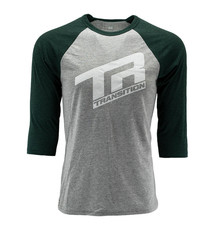 Transition TBC - 3/4 Sleeve Shirt: TR Logo (Medium, Grey- Deep Sea Green)
