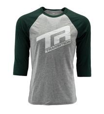 Transition TBC - 3/4 Sleeve Shirt: TR Logo (Large, Grey- Deep Sea Green)