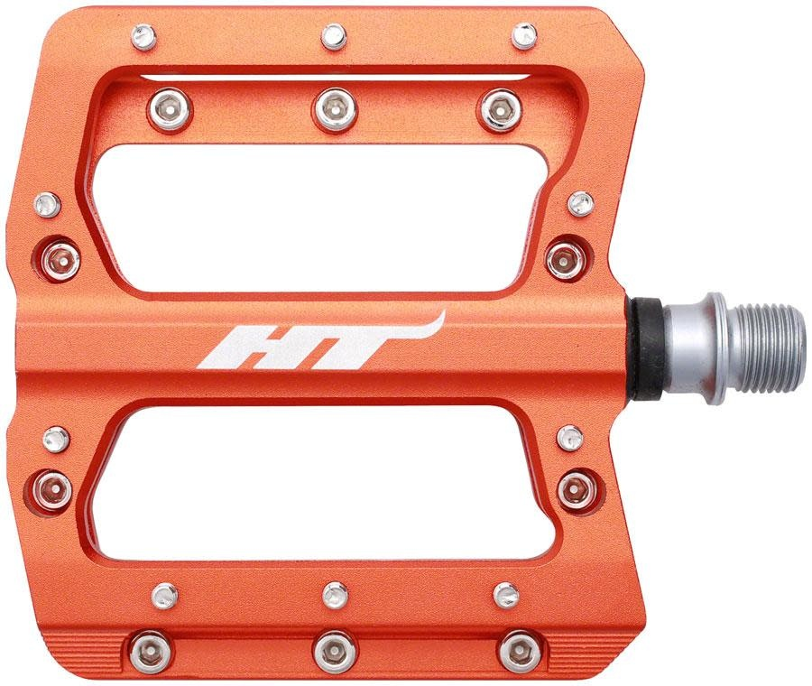 HT Components HT Components, AN14A, Nano, Platform Pedals, Body: Aluminum, Spindle: Cr-Mo, 9/16'', Orange, Pair
