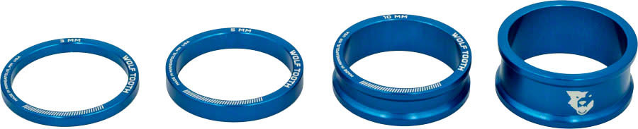 Wolf Tooth Wolf Tooth Headset Spacer Kit 3, 5, 10, 15mm, Blue