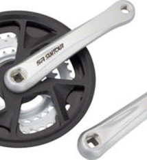 SR Suntour SR Suntour XR-T Crankset - 175mm, 7/8-Speed, 48/38/28t, Riveted, Square Taper JIS Spindle Interface, Silver