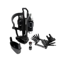 LEZYNE Lezyne, Tubeless Flow Storage Loaded, Bottle Cage, Composite, Includes CO2 Head, V18 Multi-Tool with Tubeless Reamer & Tire Plug Kits (Right)