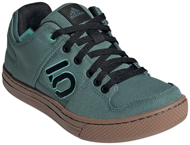 Five Ten Five Ten Freerider Primeblue Flat Shoe - Women's, Acid Mint / Hazy Emerald / Core Black, 9