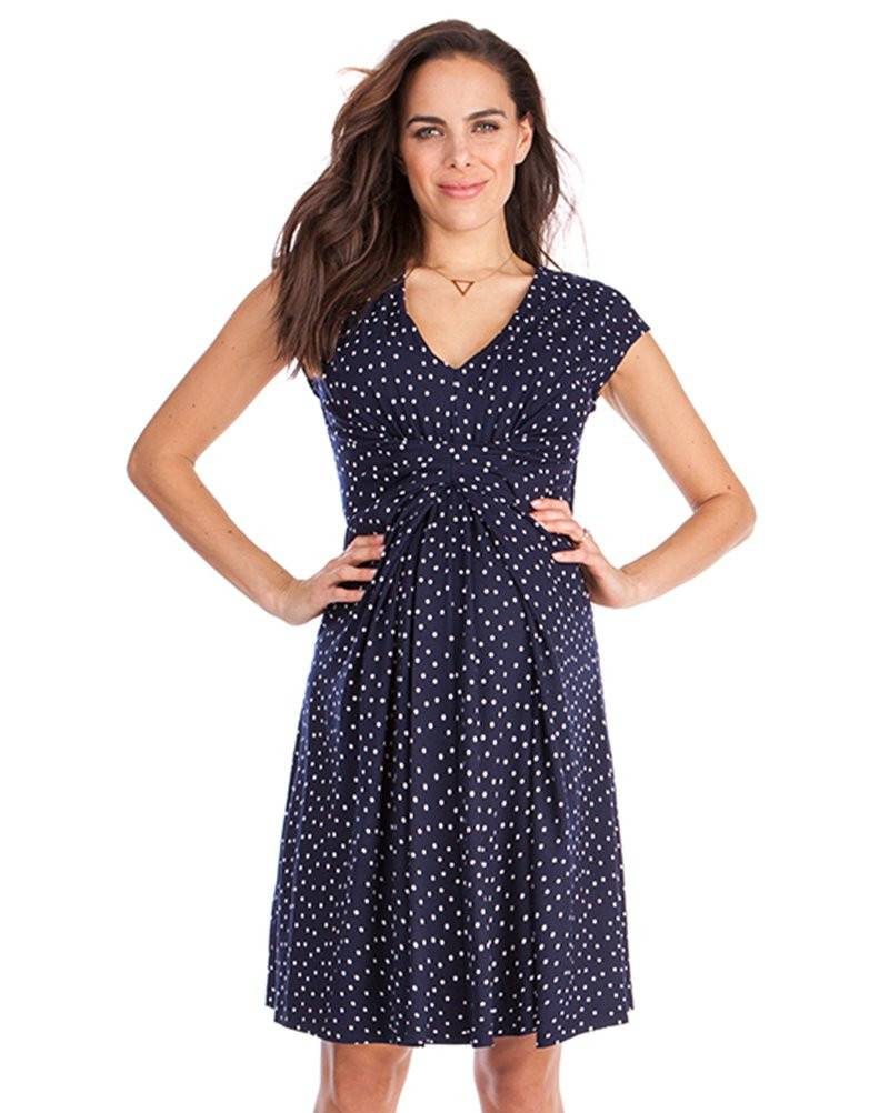 1522025153997 Cecile Navy Dot Maternity Dress - GlowMama Maternity Wear