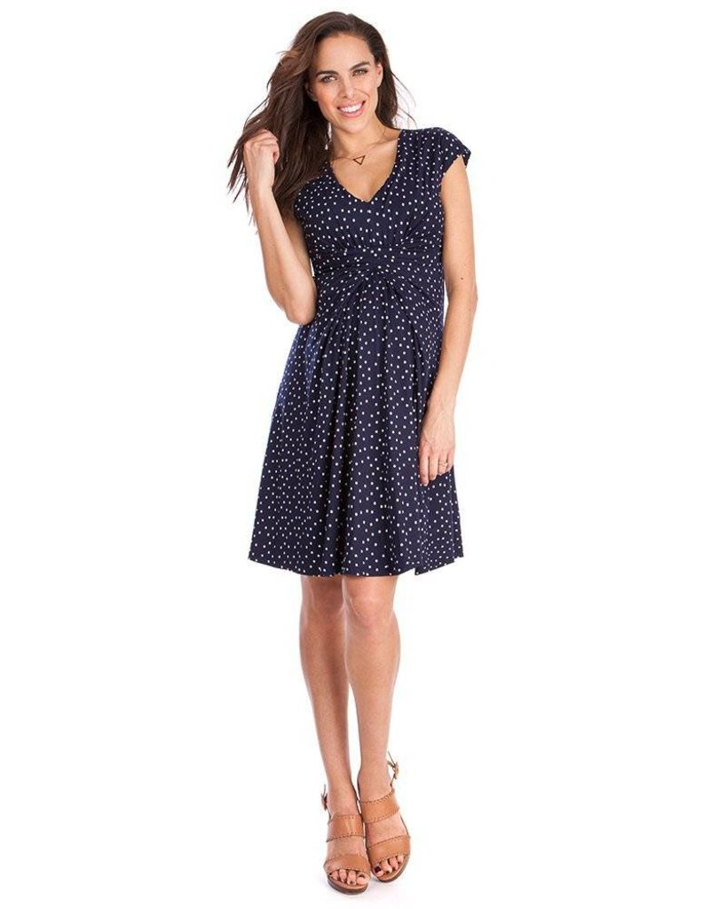 Seraphine Cecile Navy Dot Maternity Dress
