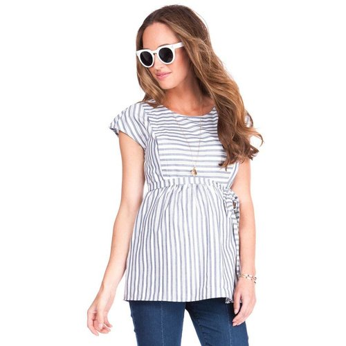 Seraphine Solene Cotton Stripe Maternity & Nursing Top