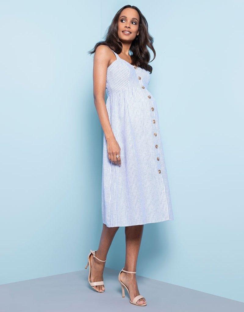 f0bad9f2d8c1b Adalia Pinstripe Midi Nursing Dress - GlowMama Maternity Wear