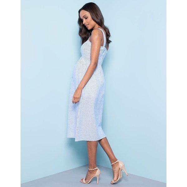Adalia Pinstripe Midi Nursing Dress
