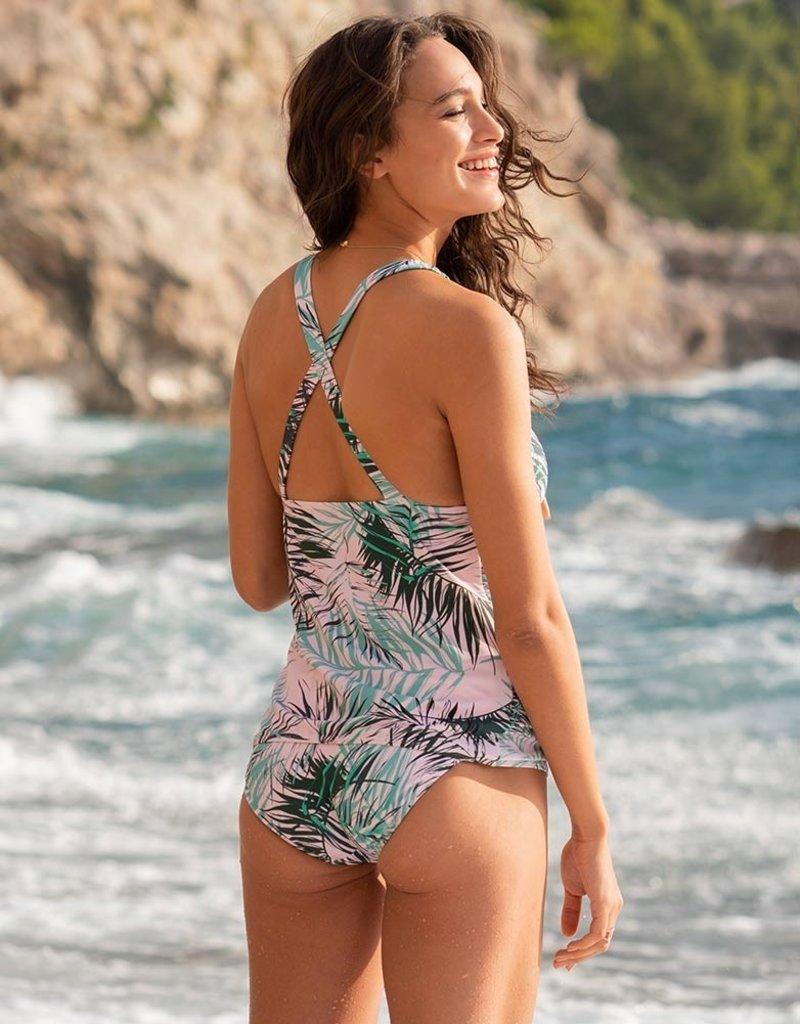 Seraphine Palm Print Maternity Swimwear Tankini
