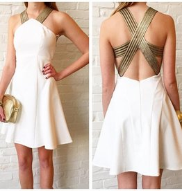 White/Gold Cross Back Dress