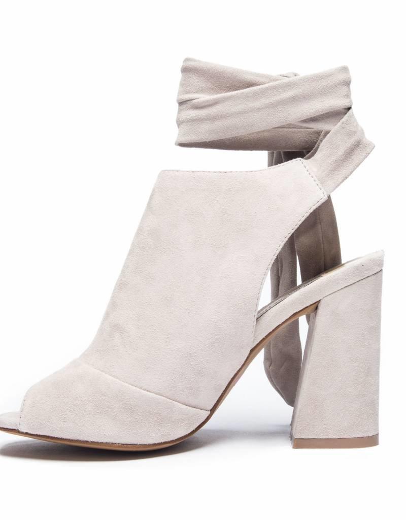 Grey Peep Toe Block Heel w/ Tie