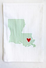 LA State Green Ticking w/ Red Heart